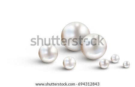Pearl background with many small and big white shiny nacreous pearls isolated on white background - space for your text