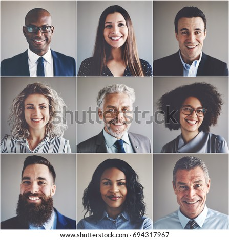 Collage of portraits of an ethnically diverse and mixed age group of focused businessmen and businesswomen #694317967