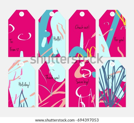 Hand drawn creative tags. Universal shopping, sales, advertising, price tags and product label templates isolated. Abstract artistic doodles. Roughly drawn bright trendy textures. Vector isolated #694397053