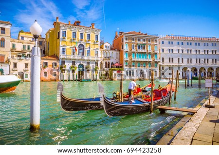 Panoramic view of famous Grand Canal in Venice, Italy #694423258
