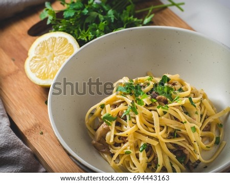 Homemade Lemon Parsley Pancetta Linguini Pasta