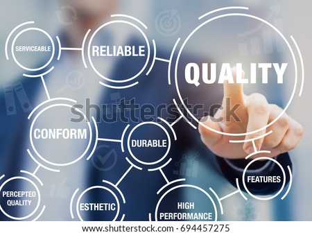 Quality management in business process and organization to improve customer satisfaction, with manager touching button on virtual screen Royalty-Free Stock Photo #694457275