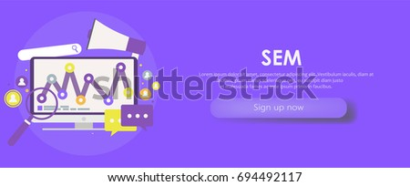 Search Engine Marketing banner. Computer with object, diagram, user icon.  flat illusration #694492117
