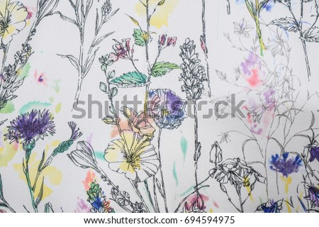 Seamless pattern with flowers. fabric surface textures   #694594975