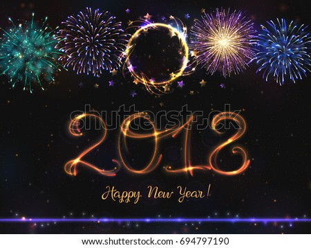 Glowing collection. 2018 New Year design! Shining FireworkS, light effects isolated and grouped. Gold violet white golden colors, shining stars and glowing sparks  #694797190