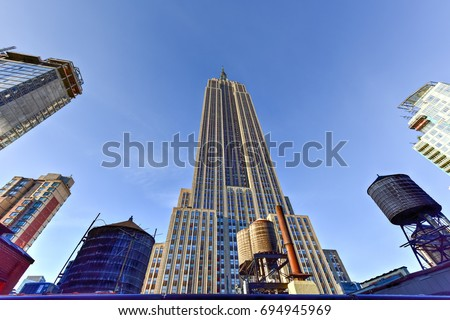 View looking up of the Empire State Building in New York City. #694945969