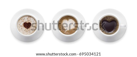 3 styles for coffee lover. heart shape, love symbol on black hot coffee cup, lover sign on Coffee cup of LATTE, Cappuccino, Mocha isolate on white background with clip path. #695034121