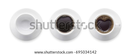 heart shape or love symbol on coffee cup, empty coffee cup, black hot coffee cup. 3 style coffee cup isolate on white background with clip path. Top view #695034142