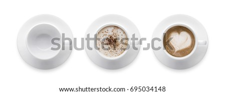 heart shape or love symbol on coffee cup, empty coffee cup, mocha and cappuccino coffee cup. 3 style coffee cup isolate on white background with clip path. Top view #695034148