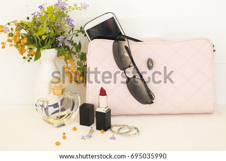 accessory and pink handbag collection fashion for woman on background white  #695035990