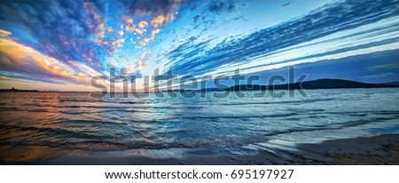 Panoramic view of Alghero shoreline. Sardinia, Italy #695197927