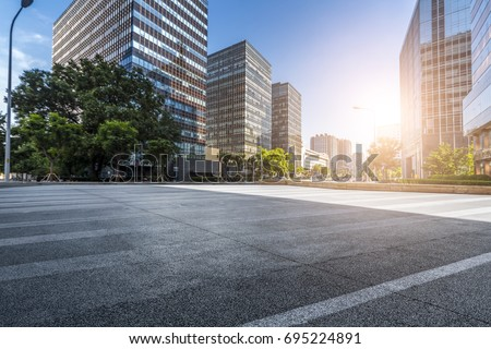 Empty Road with modern business office building   #695224891