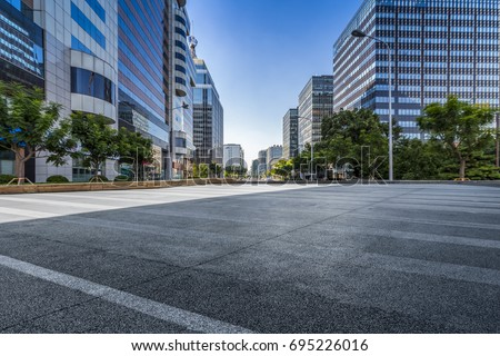 Empty floor with modern business office building   #695226016