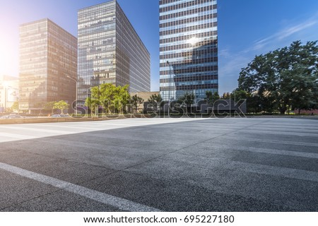 Empty Road with modern business office building   #695227180