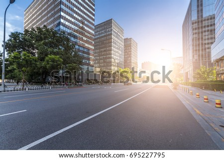 Empty urban road and buildings speed  #695227795