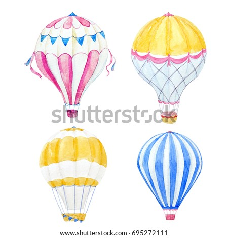 Watercolor set of illustrations balloon. aerostat
