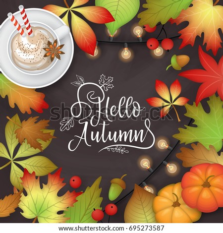 Autumn banner design with fall  leaves, pumpkin and pumpkin latte cup on chalkboard background. Flat lay style vector illustration #695273587
