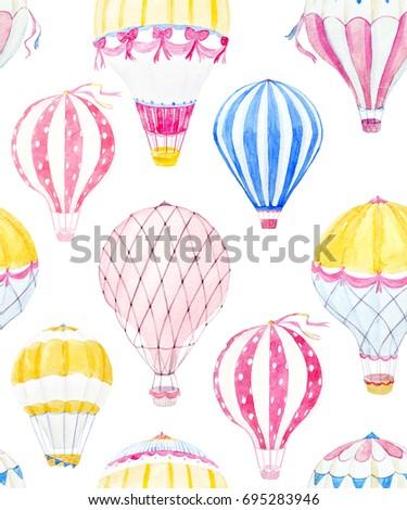 Cute balloon watercolor pattern.  aerostat