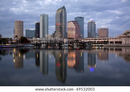Beautiful blue sunrise sunset and reflections in downtown Tampa, Florida