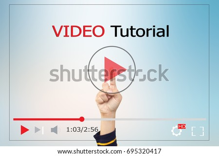 online learning concept.Video tutorial Royalty-Free Stock Photo #695320417