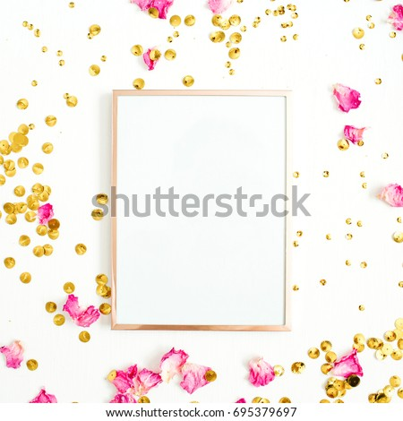 Photo frame mock up with space for text, pink rose petals and golden confetti on white background. Flat lay, top view. Valentine's minimal background.