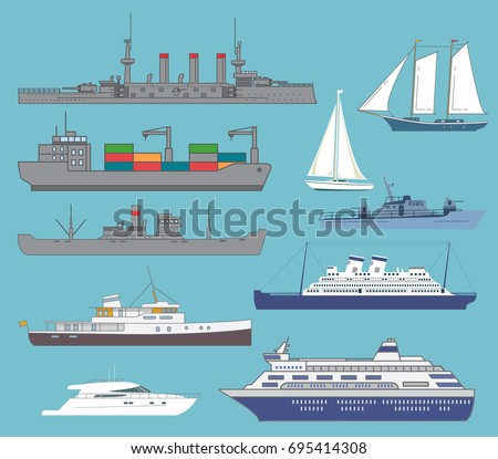 Set of the ships.Transport vessel steam.The bulk carrier with containers.The warship the battleship with guns.Modern cruise liner.Luxury walking yacht. Sailboat. Sentry patrol boat flat style a vector
