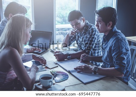 businessman review ideas and planning project to investment at coffee cafe   #695447776