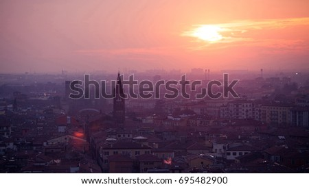 Evening view of Italian city Verona with gothic tower #695482900