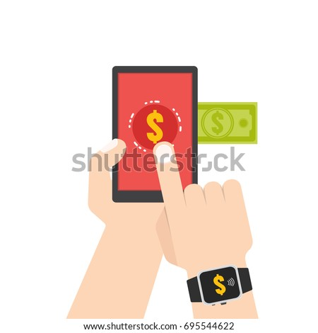 Mobile payment, e banking, Online payment use smartphone transfer concept. Flat style. Vector illustration #695544622