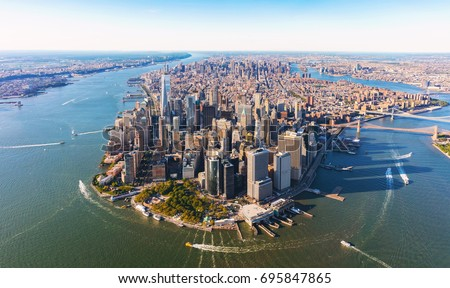 Aerial view of lower Manhattan New York City Royalty-Free Stock Photo #695847865