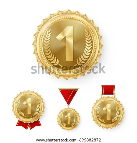 Champion Gold Medals Set Vector. Metal Realistic 1st Placement Winner Achievement. Number One. Round Medal With Red Ribbon. Relief Detail. Best Challenge Award. Sport Competition Game Golden Trophy #695882872