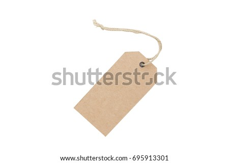 Blank brown cardboard price tag or label isolated on white background.