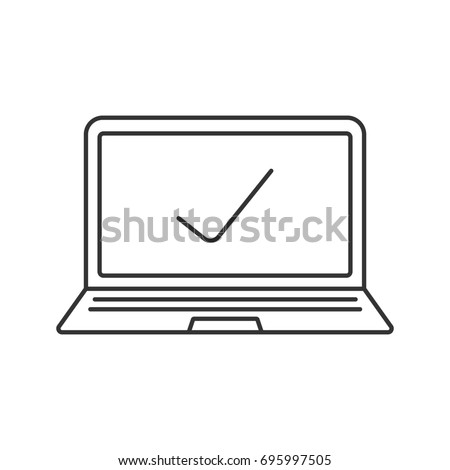 Laptop with tick mark linear icon. Thin line illustration. Contour symbol. Raster isolated outline drawing