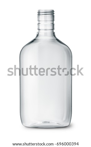 Clear plastic alcohol flasks isolated on white #696000394