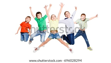 Group of happy, cheerful children jumping at isolated white studio background. Childhood and freedom, active lifestyle concept, copy space #696028294