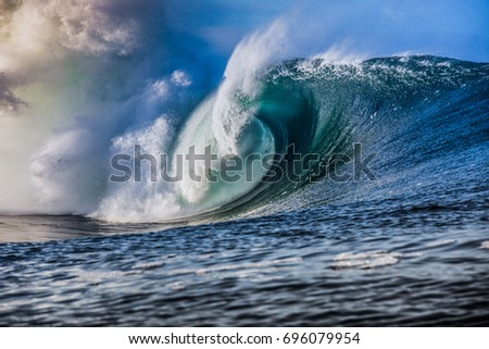 massive blue wave breaks #696079954