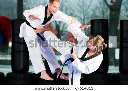 People in a gym in martial arts training exercising Taekwondo, both have a black belt #69614011