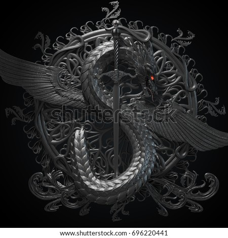 Silver ornamental sculpture of a dragon with sword in a shape of symbol of dollar currency. Ancient heraldic conceptual design. 3d rendering