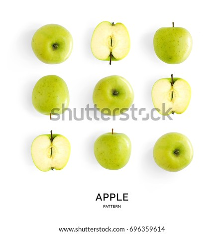 Seamless pattern with green apples. Fruits abstract background. Apple on the white background.