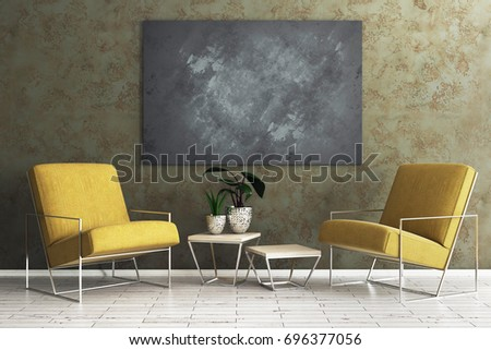 Comfortable living room interior with armchair, table with green and empty blackboard on concrete wall. Mock up, 3D Rendering  #696377056