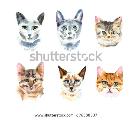 Set of six different watercolor cats. Watercolor animal painting. Kids background. Hand drawn illustration. Painted backdrop. Cloth pattern. Cat, kitten, head.