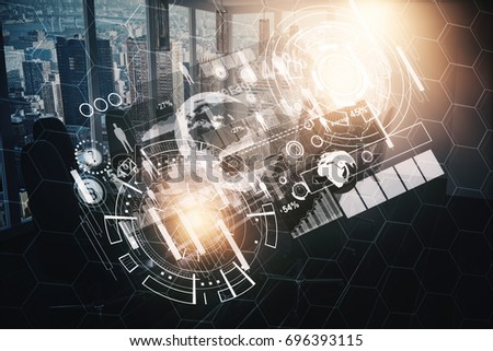 Abstract glowing business hologram on city background with sunlight. Analytics concept. Double exposure  #696393115