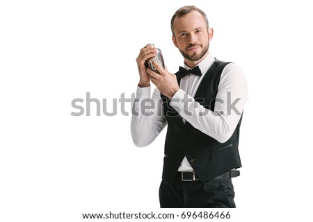 handsome smiling bartender with classical metal shaker isolated on white #696486466