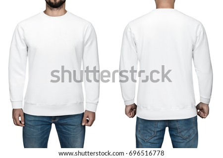 men in blank white pullover, front and back view, isolated white background. Design sweatshirt, template and mockup for print #696516778