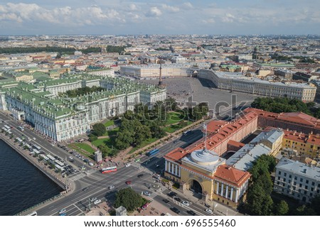 Aerial view of Palace Square in Saint-Petersburg #696555460