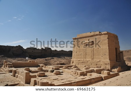 The Isis chapel built by the roman emperor augustus at the ancient Egyptian fertility and love temple of the goddess Hathor at Dendera, in Egypt #69663175