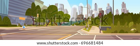 City Street Skyscraper Buildings Road View Modern Cityscape Empty Downtown Flat Vector Illustration Royalty-Free Stock Photo #696681484