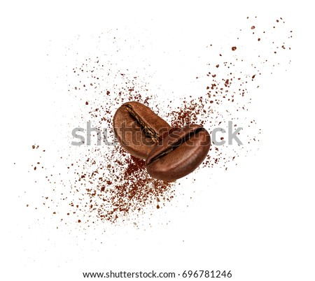 Two coffee beans collide in the air on white background  #696781246