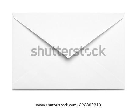 White Open Envelope Isolated on White Background. Royalty-Free Stock Photo #696805210