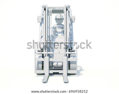 3d render: White Forklift Truck Shot on White Background #696958252